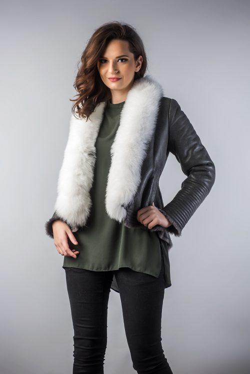 Jachetă din blană de miel si vulpe 250 VP 1