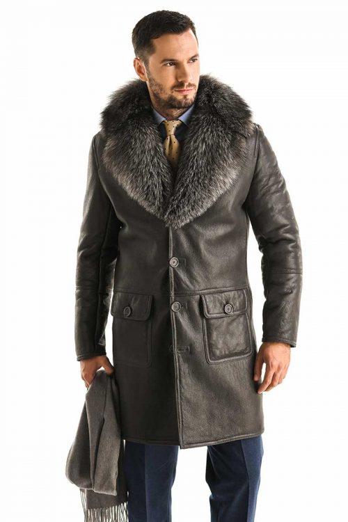 Palton din blana de miel cu vulpe polara 355 V 2