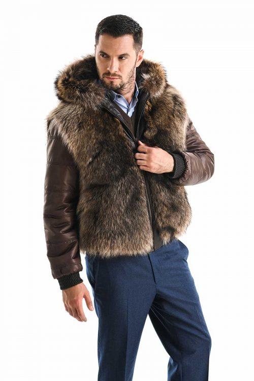 Jachetă din blană de raton și piele de ovină 356 1