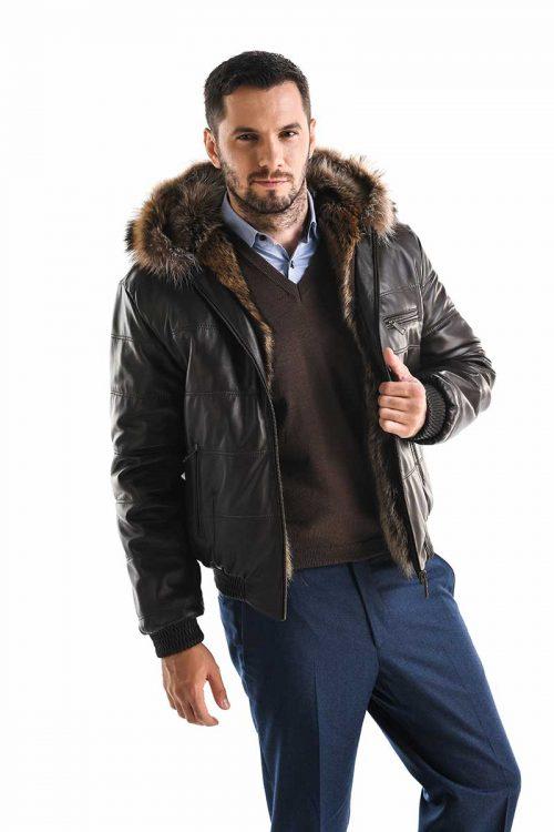 Jachetă din blană de raton și piele de ovină 356 2