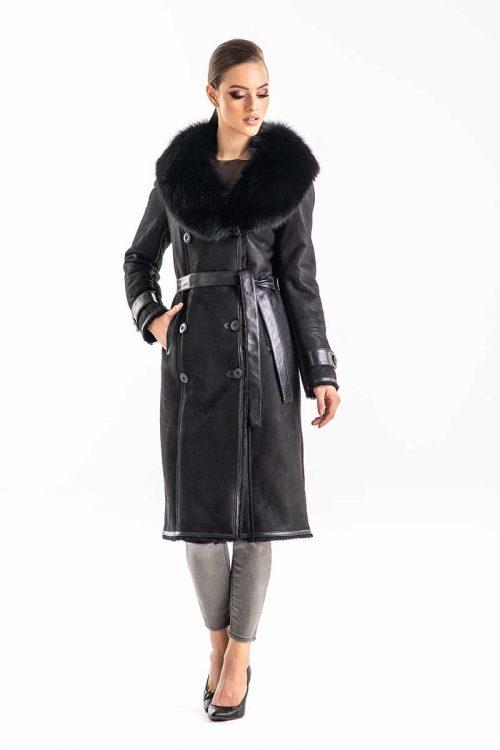 Palton din blana de miel si vulpe 275 1