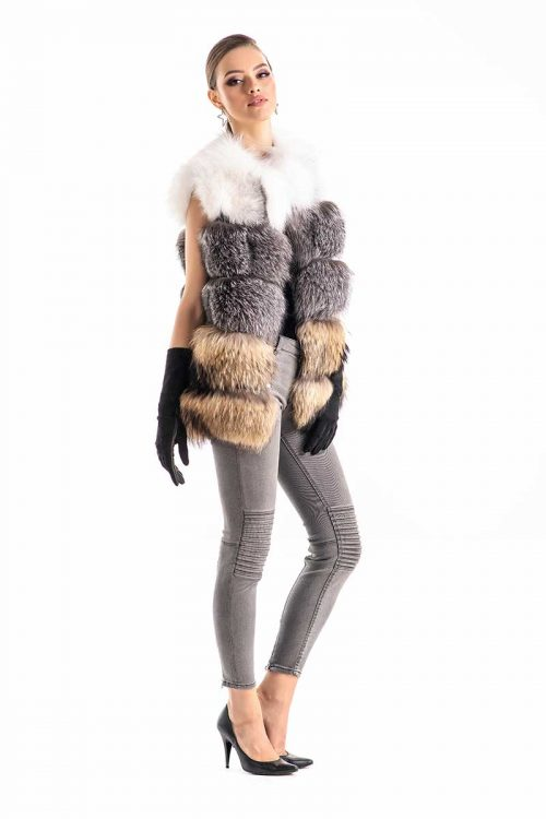 Vesta din blana de vulpe si raton 459 1