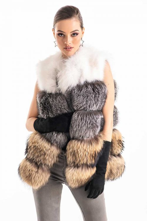 Vesta din blana de vulpe si raton 459 2