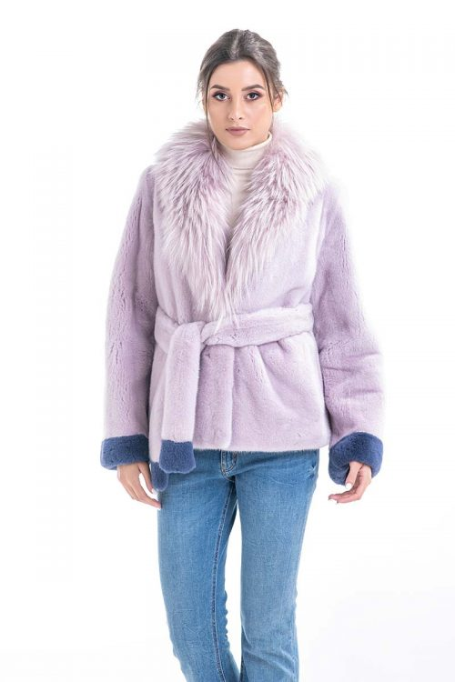 Jachetă din blană de nurcă cu guler de raton HE005 1